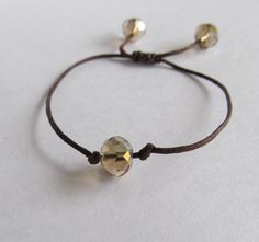 Crystal, Bead Bracelet with a link for instructions on the adjustable closing (square knots)