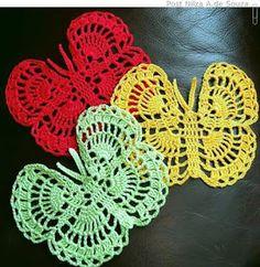 Knitting for beginners. Crochet Butterfly Pattern, Crochet Flower Patterns, Crochet Stitches Patterns, Crochet Motif, Crochet Flowers, Crochet Dollies, Crochet Gifts, Borboleta Crochet, Crochet Sunflower