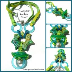 """""""Hoopin' Vortex Star"""" necklace- lampwork bead and design by Genea Beads, Stary focal- S L Artisan Accents, Beach Glass Hoops- Trinket Foundry, Suede cord- Darn Good Yarn, Wooly Wire- Wooly Wire Etc."""