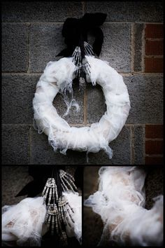 Gauze Halloween Wreath | DIY wreath hanging from skeleton hands. Front door / porch decorations.  Holiday craft ideas for decorating home or party. by lesley