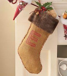 Burlap & Fur Monogrammed Stocking at Joann.com