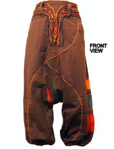 Eye-Dazzling-Strings-Belted-Harem-Brown-Trouser-Baggy-Hippy-Pants-Boho-S-M-L-XL