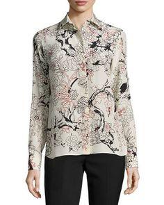 VALENTINO Floral Long-Sleeve Silk Blouse, Milk. #valentino #cloth #