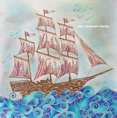 LOST OCEAN by Johanna Basford | julie's passion for coloring w/video; Feb 2017 #juliebouve #juliespassionforcoloring #lostocean #johannabasford #adultcoloring