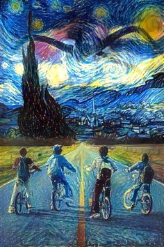 This is the coolest thing I have ever seen!! The connection of the modern TV show, Stranger Things, to Van Gogh's Starry Night is surprisingly perfect! With the monster from Stranger Things looming in the background blending in so well with the original painting, and the colors and characters fitting in so well.