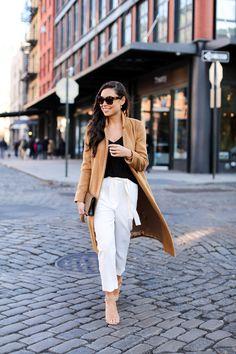 Long Camel Coat - Topshop coat // Topshop tank  Topshop trousers // YSL clutch Stuart Weitzman heels // Michael Kors watch Monday, December 7, 2015