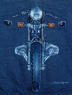 Custom Motorcycle Paintings on Denim via Etsy