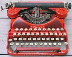 Antique-1920s-Corona-Scarlet-Red-No-4-Typewriter-Portable-Types-Ink-Ribbon