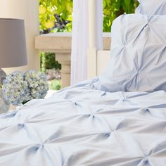 Great site for designer bedding | The Valencia Light Blue Pintuck Duvet Cover | Crane and Canopy LOVE THIS LIGHT BLUE