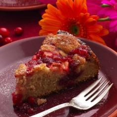 Cranberry-Apple Coffee Cake Recipe....would be perfect for a brunch or Thanksgiving or Christmas breakfast.