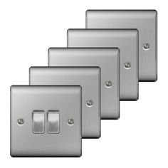 Bathroom Light Switches B&Q british general 13a brushed steel switched double socket & 2 x usb