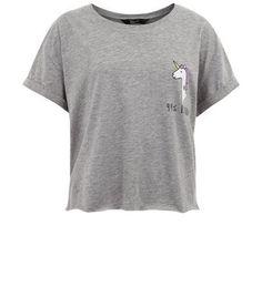 Teens Grey 99% Unicorn Crop T-shirt