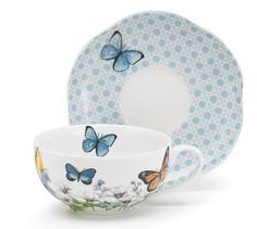 Blue Butterfly Teacup and Saucer