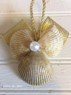sea shell angel ornament, christmas decorations, seasonal holiday decor