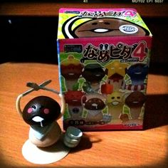 """Gourmand"" Mushroom Figurine from Nameko Saibai. He wants to eat all the best foods and be a food reporter."