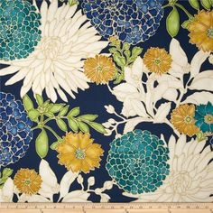 Richloom St. Moritz Floral Twill Carribbean - Colors include teal, gold, kiwi, peacock blue, ivory and navy with gold metallic accents