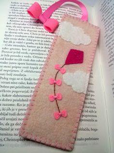Dusi Ustvarja bookmark, felt, filc, knjižno kazalo, kite, sky