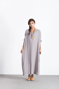 Oversize Linen Cotton maxi dress loose caftan plus size #clothing #Custom_made A69