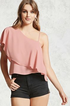 A one-shoulder top featuring a chiffon woven fabric, asymmetrical flounce layer, single adjustable cami strap, and a short sleeve.