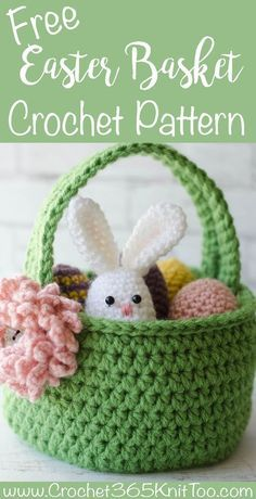 Crochet Easter Basket Pattern - Crochet 365 Knit TooThis Crochet Easter Basket Pattern Crochet Easter Eggs Pattern is just one of the custom, handmade pieces you'll find in our tutorials shops.This Crochet Easter Basket just makes me happy. Crochet Easter, Bunny Crochet, Easter Crochet Patterns, Holiday Crochet, Crochet Crafts, Crochet Flowers, Crochet Toys, Cute Crochet, Crochet Projects