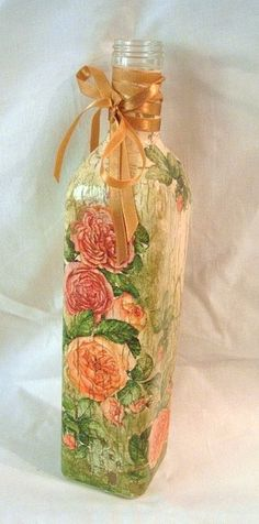 Decoupage. Bottles