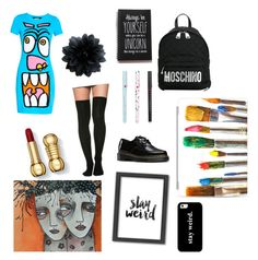 """""""StayWeird!"""" by rjizzle2247 ❤ liked on Polyvore featuring Jeremy Scott, Dr. Martens, Casetify, Americanflat and Moschino"""