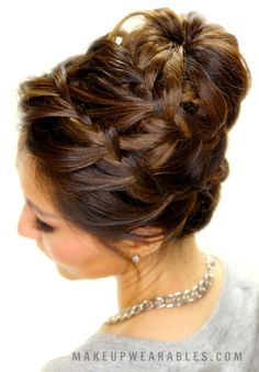Hair tutorial video: learn how to create an amazingly intricate braid bun style with waterfall and French braids for medium long hair.