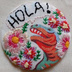 Hola Dinosaur pin badge with embroidered flowers by Sarah Fordham on Etsy www.etsy.com/shop/mamagasin www.facebook.com/weheartmagasin