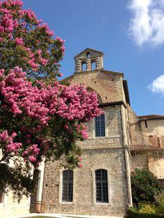 L'église de Sorde l'Abbaye sublimée par un lila des Indes #landes #sordelabbaye #church #flowers