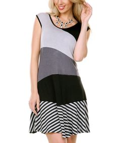 Look at this #zulilyfind! Black & Gray Color Block Sleeveless Dress by Aster #zulilyfinds