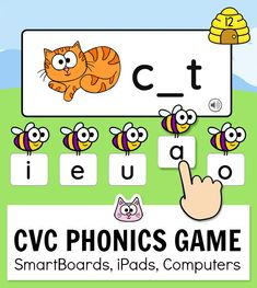 CVC Words Game for Beginning Sounds, Middle & Ending Sounds - Word Work Activity Phonics Words, Phonics Games, Fun Math Games, Cvc Words, Cat Games, Classroom Activities, Phonics Chart, Alphabet Phonics, Word Work Games