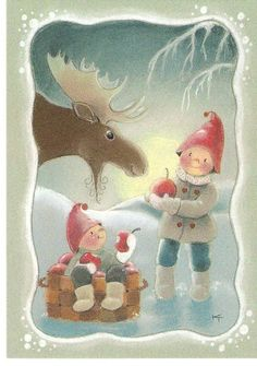Gnomes and Moose. Illustration Noel, Winter Illustration, Christmas Illustration, Illustrations, Swedish Christmas, Christmas Gnome, Winter Christmas, Vintage Christmas, Christmas Graphics