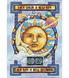 "A New Day - 5"" x 7"", counted cross-stitch :: My mom is really into suns and moons, I kind of like this too..."