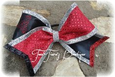Twisters, Tornado, Cyclones Tick Tock Cheer Bow Red black Team Discounts are always welcome.  By Two Tiara's Bowtique on Etsy or Facebook group.  Other colors available.