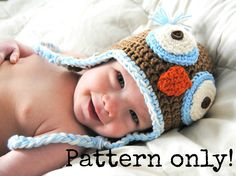 PDF Pattern for Crochet Baby Owl Hat with Permission to Sell What You Make. $4.50, via Etsy.