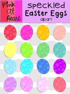Speckled Easter Eggs Clip Art from kac2877 from kac2877 on TeachersNotebook.com (19 pages)  - 16 png Easter Egg images!