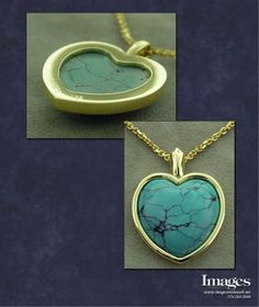 "This piece was crafted in 14k yellow gold and contains a custom cut turquoise heart. The material has been known by many names, but the word turquoise, which dates to the 16th century, is derived from an Old French word for ""Turkish"", because the mineral was first brought to Europe from Turkey."