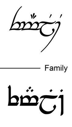 Bildergebnis für family in tengwar Elbisches Tattoo, Elvish Tattoo, Hobbit Tattoo, Ring Tattoos, Tattoo Script, Sibling Tattoos, Family Tattoos, Sister Tattoos, Symbol For Family Tattoo