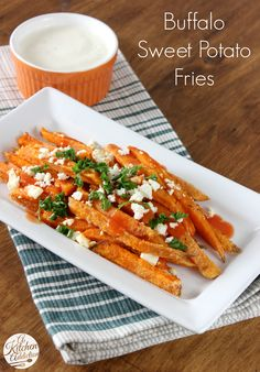 Buffalo Sweet Potato Fries - An easy recipe perfect for game day! from @Jessica l A Kitchen Addiction