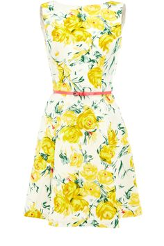 Oasis Floral Frocks | Multi Yellow Vintage Rose Dress | Womens Fashion Clothing | Oasis Stores UK