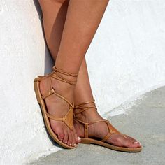 fa0b3582704 Casual Roman Strappy Flat Sandals Leather Gladiator Sandals