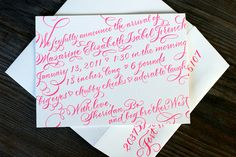 Hot pink letterpress and calligraphy baby announcement by Bella Figura