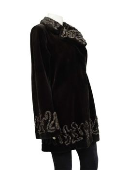 NEW Genuine Brown Sheared Mink Fur Persian Trim Stroller Coat Sz 10 #ShearedMinkcoat