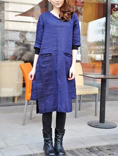 Linen Long Dress Gown in Blue/ Pleated Sundress door camelliatune, $79.00