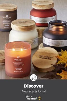 Find new scents to fall in love with from Better Homes & Gardens at Walmart. #fall #candles #autumn #fallcandlescents #homedecor