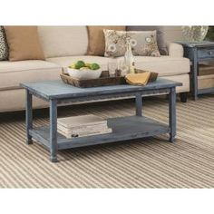 Proffer a unique accent in your living space by adding this Alaterre Furniture Country Cottage Blue Antique Coffee Table. Coffee Table With Shelf, Cool Coffee Tables, Decorating Coffee Tables, Antique Coffee Tables, Coffee Table Wayfair, My Living Room, Modern Farmhouse, Farmhouse Decor, Home Decor