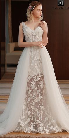 Alluring Tulle & Lace V-neck Neckline A-line See-through Wedding Dress With Flowers & Beadings Super gorgeous wedding dresses Gold Prom Dresses, Wedding Dresses For Girls, Tulle Prom Dress, Bridal Dresses, Wedding Gowns, Lace Dress, Girls Dresses, Tulle Lace, Lace Wedding