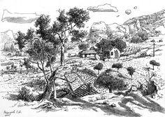 Крым, графика, рисунок, горы, Меркулов Сергей, пейзаж, гелевая ручка,