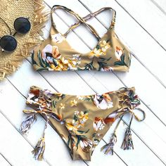 $40 Cupshe Golden Beach Print Bikini Set Triangle Tassel  Swimsuit Bathing Suit  Brazilian Biquini Monokini  Maillot De Bain
