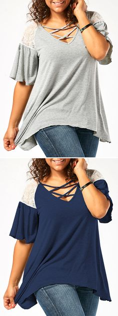 summer style:plus size Drop Shoulder Tunic T-Shirt
